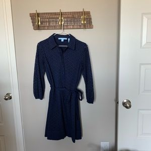 Draper James Navy Long Sleeve Dress With Cut Outs